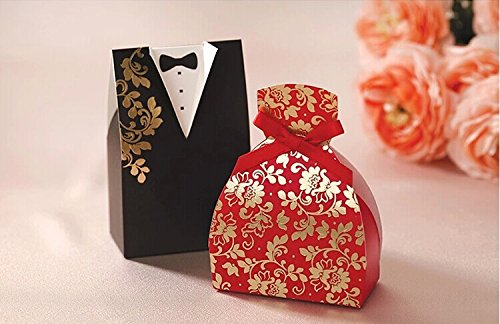 Saitec ®Pack of 100ps Black & Red Paper Chocolate Boxes Bride and Groom Wedding Favors Boxes Gift Candy Box