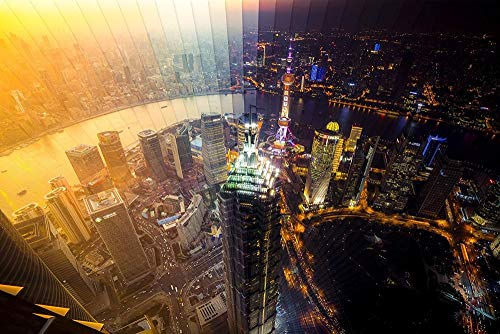 Shanghai dag- en nachttijd Jigsaw volwassen 1000 puzzel, familie puzzel, houten puzzel, educatief spel, intellectuele uitdaging puzzel, uitdagingsspel