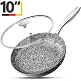 MICHELANGELO 10 Inch Frying Pan with Lid, Nonstick Stone Earth Frying Pan with Non toxic Stone-Derived Coating, Granite Frying Pan, Nonstick Frying Pans with Lid, Stone Skillets, Induction Compatible