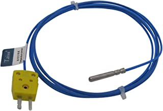 Waterproof K-Type Sensor Probes Metal HeadProbe for K-Type Probe Thermocouple Sensor & Meter Temperature Controller With plug, Long Probe (4×30MM) Temperature Range from -50 to 200 °C TA-6340-W-C