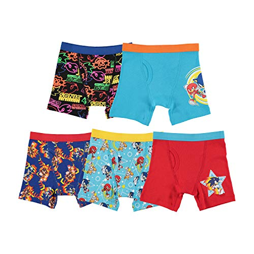 Sonic the Hedgehog Boys' Little Boxer Briefs, Sonic 5pk BXR Br, 4