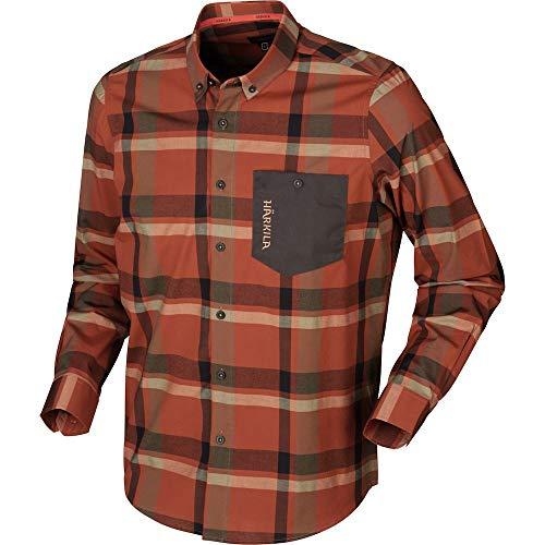 Härkila Amlet Hemd Dark Burnt orange Check Freizethemd mit Brusttasche, Größe:L