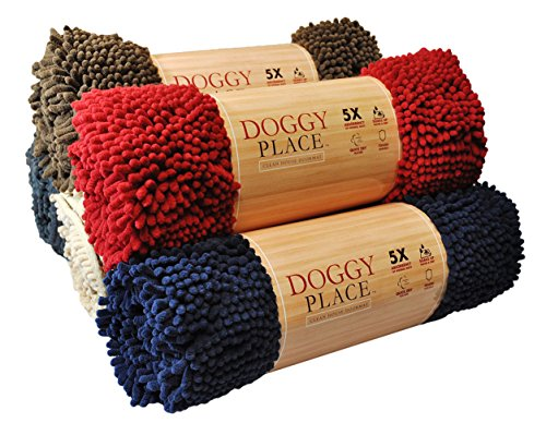 My Doggy Place - Ultra Absorbent Microfiber Dog Door Mat, Durable, Quick Drying, Washable, Prevent Mud Dirt, Keep Your House Clean (Red, Large) - 36 x 26 Inch