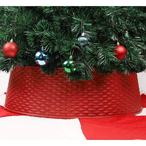Blissun Christmas Tree Ring, Plastic Christmas Tree Collar, Christmas Tree Skirt for Artificial Christmas Trees Decoration (Red)