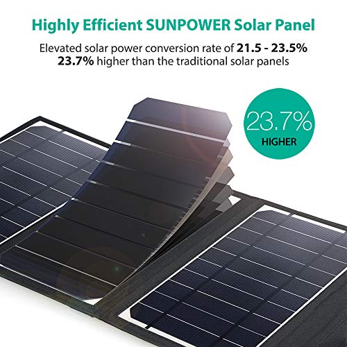 RAVPower Dual USB Solar Charger 28W Solar Panel Waterproof Foldable Camping Travel Charger Compatible iPhone XS Max Xr X…