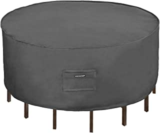 Patio Watcher Medium Round Patio Table and Chair Set Cover Durable and Waterproof Outdoor Furniture Cover, Grey