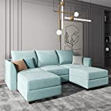 HONBAY Reversible Sectional Sofa with Ottomans & Chaises Modular Sofa U Shaped Couch with Storage Seats, Aqua Blue