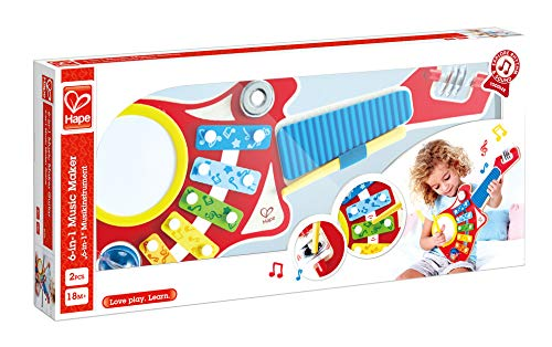 Hape 6-in-1 Music Maker | Colorful 6 Instrument Guitar Shaped Musical Toy for Ages 18 Months+