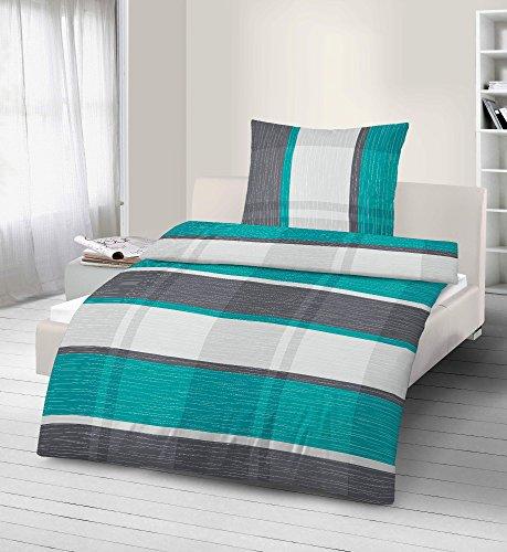 Parure de lit 2 pièces Carreaux Turquoise 135 x 200 cm (80 x 80 cm)