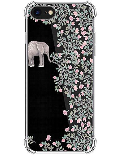 kinnter Kompatibel mit iPhone SE (2020) Handyhülle Silikon Transparent Hülle Ultra Dünn TPU Bumper Stoßfest Schutzhülle Original Design für iPhone SE (2020) Tasche Cover