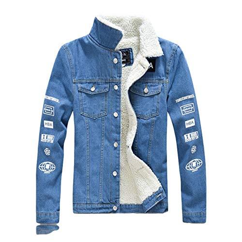 SHANYUR El Invierno Caliente Fleece Chaqueta de los Hombres Adelgazan Impreso Espesar Denim Escudo de Abrigo Chaqueta Casual Streetwear (Color : Light Blue, Size : X-Large)