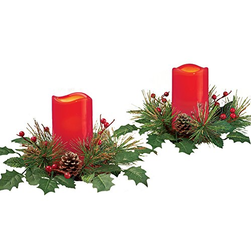 Collections Etc Festive Holly and Pine LED Red Candle Set