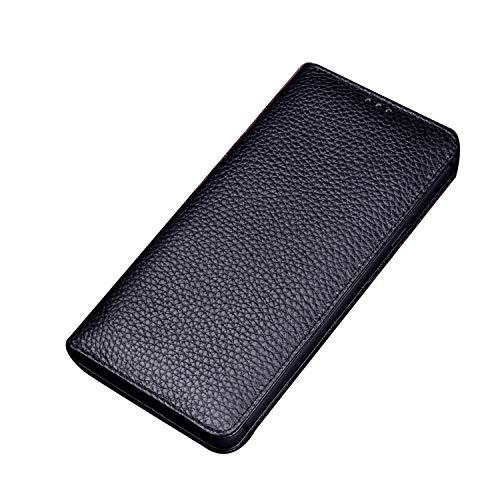 qichenlu [Eingebauter Magnetverschluss Litschi Schwarz Oppo Find X2 Pro Echte Ledertasche,Slim Kalbsleder Flipcase Magnet Cover Hülle für Oppo Find X2 Pro