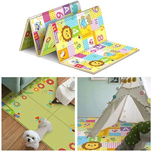 FGASAD Alfombra plegable para bebé que gatea, impresa para niños y niños de aventura de gatear rompecabezas juego Mat para niños dormitorio decoración de sala de estar
