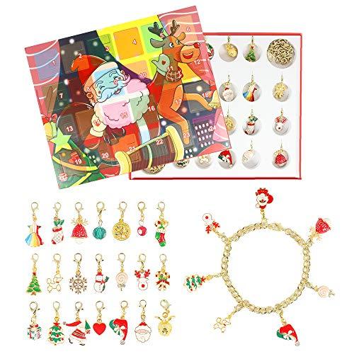 APERIL Calendario Avvento per Bambini 2020 Braccialetti Ragazza Natale Gfit, DIY Gioielli Calendario Collana Braccialetto di Perline, Conto alla Rovescia 24 Giorni per Regalo per Figlia Nipote