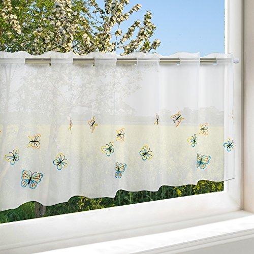 Tenda pronta da Cucina, Motivo Farfalle Colorate, Bianca, in Voile, con bellissime Farfalle Ricamate in Toni Pastello, 45 x 115 cm