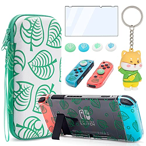 BRHE Tasche für Nintendo Switch Zubehör Bundle für Animal Crossing-Green Leaf schützende Aufbewahrungstasche mit andockbarer durchsichtiger Abdeckung Crystal Shell & Displayschutz & Daumengriffen