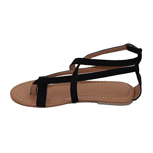 2d90c6ae9d381e Falaiduo Women s Roman Sandals Peep-Toe Flat Buckle Summer Shoes