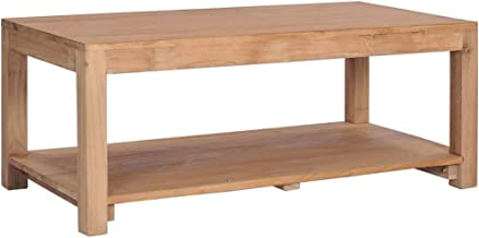 vidaXL Solid Teak Wood Coffee Table Tea Table Storage Shelf Rack Cocktail Holder Couch Side Table Living Room Centerpiece ...