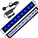 2ft-5ft Aquarium Light for 90cm-125cm Coral Reef Plants Fish Marine and Cold Water Aquariums Tanks LED Hoods Fish Lights with UK Power Adapter
