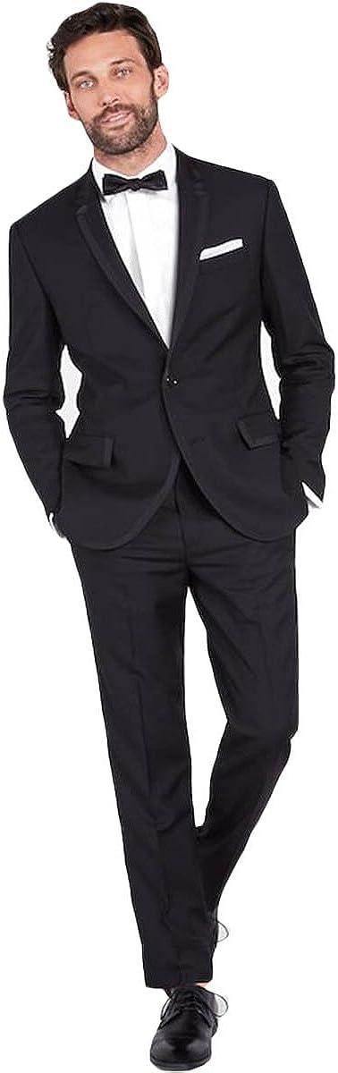 Newdeve Men's 3 Pieces Black Tuxedo Suit Jacket and Pants