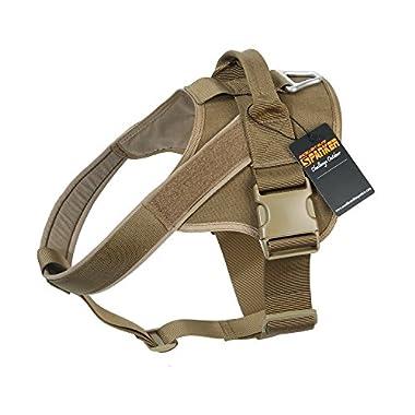EXCELLENT ELITE SPANKER Tactical Dog Harness Military Training Patrol K9 Service Dog Vest Adjustable Working Dog Vest with Handle(Coyote Brown-L)