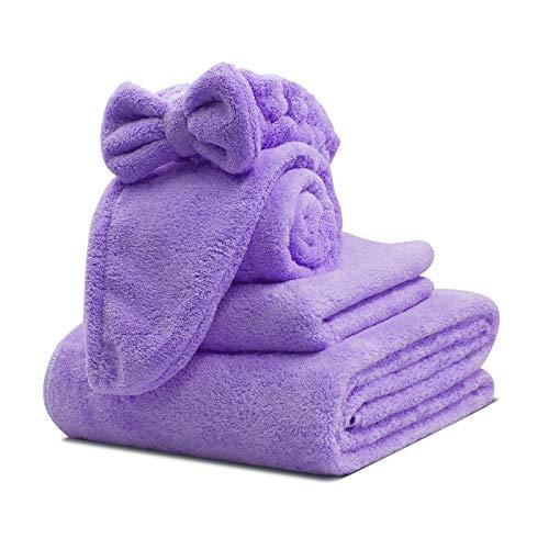 Kytree Bath Towel Wrap for Women's Microfiber Shower Towel Wraps Bathrobe - Spa, Shower, and Gym Towel and Dry Hair Towels 4-Piece Set (Purple)