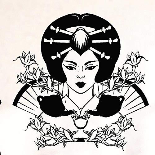 Axlgw Retro Muurstickers Geisha Bloemen Thee Ceremonie Drinkende Theepot Muursticker Woonkamer Kantoor Achtergrond Art Muurdecoratie Grootte 42X42Cm