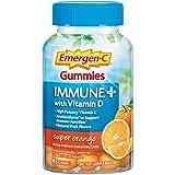Emergen-C Immune+ Immune Gummies, Vitamin D plus 750 mg Vitamin C, Immune Support Dietary Supplement, Caffeine Free, Gluten Free, Super Orange Flavor - 45 Count