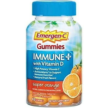 Emergen-C Immune+ Immune Gummies Vitamin D plus 750 mg Vitamin C Immune Support Dietary Supplement Caffeine Free Gluten Free Super Orange Flavor - 45 Count