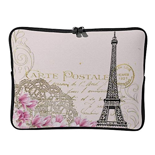 Laptop Sleeve Water Repellent Neoprene Bag Protective Case Cover Compatible with MacBook Pro/Asus/Dell/Hp/Sony/Acer 17 Inch, Vintage Eiffel Tower Collage with Pink Wildflowers