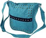 GURU SHOP Bolsa de Hombro con Remaches Bali - Azul Claro, Unisex - Adultos, Sintético, Tama�o:One Size, 27x23 cm, Bolsas de Hombro