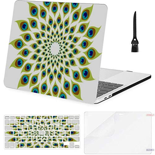 MacBook Pro 13 Inch Case Peacock Feather Spiral Abstract Illustration MacBook Air 13 Inch Case with Keyboard Cover Screen Protector Cleaning Brush
