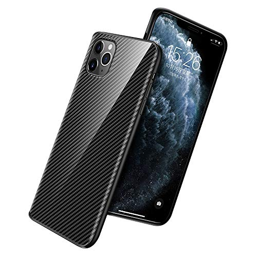 Case Compatible for iPhone 11 Pro Max UltraSlim Carbon Fiber Ceramic Hard Back case Flexible Silicone Bumper Cover Lightweight Rugged Shockproof Drop Anti-Scratch Protection Shell