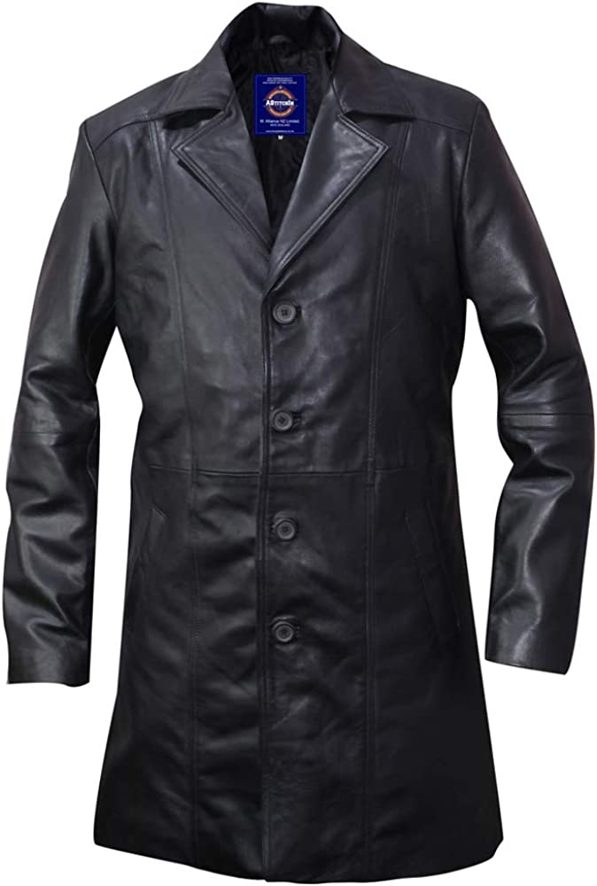 Fashion Men's Trench Coat / Rain Coat Long 3-Quarter Real Leather Coat-Genuine Sheepskin Leather Coat for Men -AS/NZ-7219059