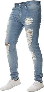 5ac6c12f14ca6 OEAK Jeans Déchiré Homme Pantalon en Denim Serré Trou Biker Jeans Skinny  Cargo Slim Fit Stretch
