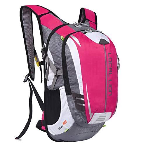 LOCAL LION Fahrradrucksack Trinkrucksack Reiserucksack Sportrucksack Tagesrucksack Alltags Daypacks Backpack Outdoor Ultraleicht Unisex 18L, Rosa