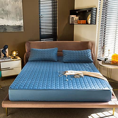 FJMLAY Sábana Bajera Ajustable elástica,Sábanas de Cama Acolchadas cepilladas, protección Antideslizante para el apartamento del Dormitorio-Blue_1_120cmx190cm