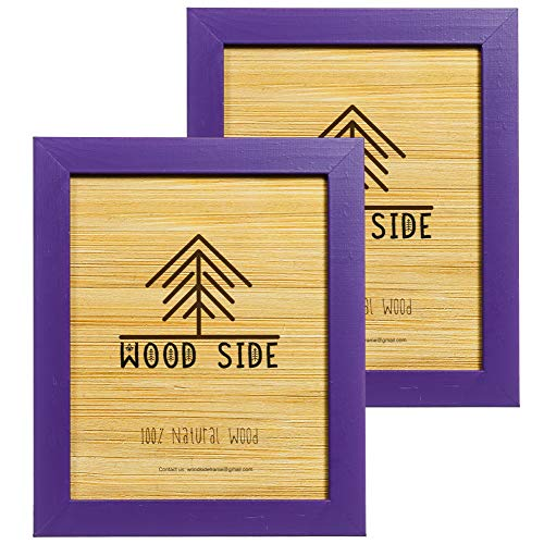 Rustic Wooden Picture Frame 5x7 Inch - Set of 2 - Natural Eco Distressed Wood and Real Glass - Made for Wall and Table Top Display - Purple