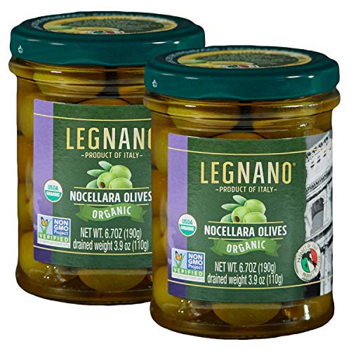 Organic Green Nocellara Olives by Legnano | Authentic Italian Olives | Green Olives Organic, Non-GMO | Made in Tuscany | 2-Pack 6.7 oz Jars