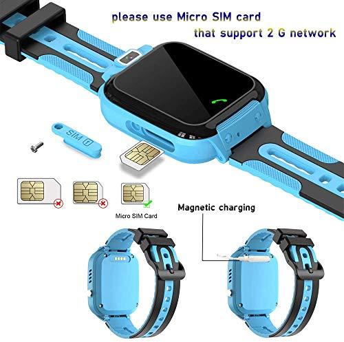 Smartwatch Kinder Wasserdicht Kids Smart Watches Phone KinderUhr für Jungen Mädchen Smartwatch mit LBS Tracker Voice Chat, Blue