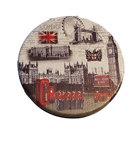 Witte Londen Alles Pocket Spiegel - Rond/Souvenir Vintage Landmarks/Compact/Big Ben/Eye/Royal Guard/Rode Bus/Telefoon Box/Post/Tower Bridge/Union Jack/Parlement/rest
