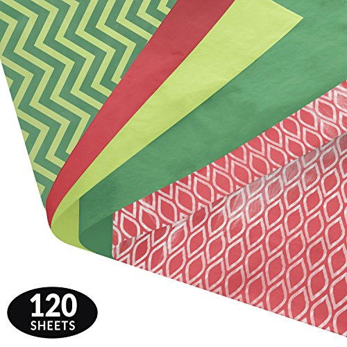 Note Card Cafe Christmas Tissue Paper Set | 120 Holiday Gift Wrapping Sheets | 14 x 20 in | Modern Christmas Designs and Solid Colors | for Arts, Crafts, Gifts, DIY, Gift Wrapping…
