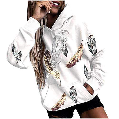 yiouyisheng Sudadera con capucha para mujer con girasol, plumas y graffiti de colores, para otoño e invierno, con capucha, para adolescentes y niñas, con bolsillos, Blanco, XL