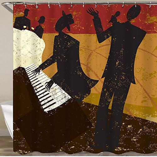 MATEKULI Cortinas de Ducha,Un Cantante de Club de Jazz con un Pianista y una Pareja sentada en una Mesa Bebiendo Vino,Impermeable Cortinas Baño y Lavables Cortinas Bañera 180x180CM