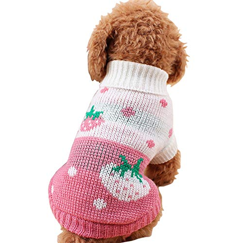 CHBORCHICEN Pet Dog Sweaters Classic Knitwear Turtleneck Winter Warm Puppy Clothing Cute Strawberry and Heart Doggie Sweater (Pink, XX-Small)