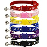 6 Pack Breakaway Cat Collar with Bell Gold Moon and Star Glow in The Dark Adjustable Quick Release Safety Kitten Collars