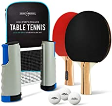 PRO SPIN Portable Ping Pong Set - Retractable Ping Pong Net for Any Table, 2 Ping-Pong Paddles/Rackets, 3 White 3-Star Balls, Premium Storage Case | Quality Table Tennis Set with Retractable Net