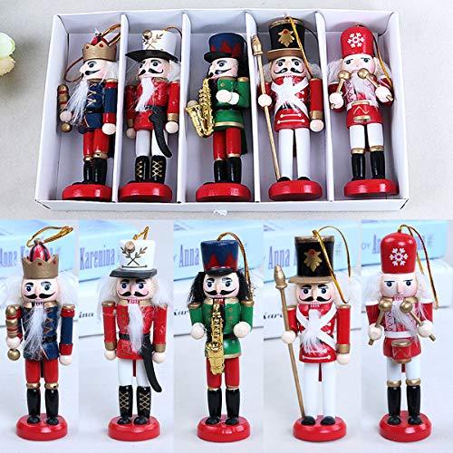 ExcLent 5 Stücke 12 Cm Holz Nussknacker Soldat Handwerk Walnuss Puppe Weihnachtsschmuck Geschenk