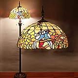 Gweat Tiffany Lámpara de Pie de 16 Pulgadas Cálida Pastoral Retro Europea Sala de Estar Lámparas de Iluminación de Cristal Decorativas Dormitorio Lámpara de Pie de Arte